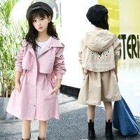 2018 Girls Spring Autumn Trench Jackets Coats New Children's Zipper Hooded Long Jacket Coat Kids Windbreaker Outerwear Clothing