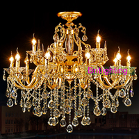 elegant gold crystal chandelier lighting yellow crystal pendants for chandeliers LED candle lighting Villa copper chandelier
