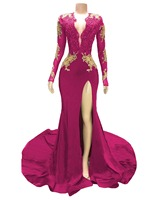 Dark Red Sexy Mermaid Prom Dresses 2019 V Neck Long Sleeves Sequined Beaded Special Occasion Dresses Formal Evening Dresses Wear