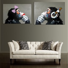 Modern decorative animal oil painting hand painted(a monkey with a headset) canvas  Children bedroom wall art