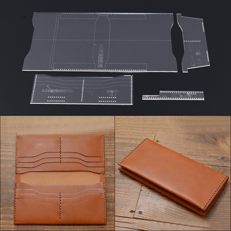 Donyamy 1 Set Diy Leather Craft Acrylic Long Wallet Purse Pattern Template Stencil