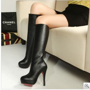 free shipping 2014 new fashion red bottom platform high heel boots ...