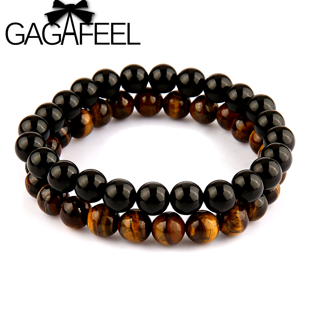 Gagafeel Famous Brand Watch Bracelets Men's Jewelry Simple Bangle For Men  Natural Stone Round Bead Bracelet