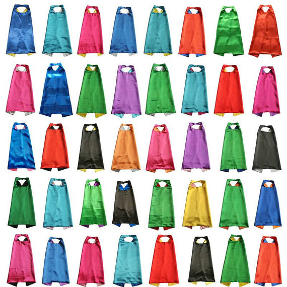 plain Solid Two Colored Satin Super Cape child cape, party favor, satin capes, boys girls satin capes, cheap party favor