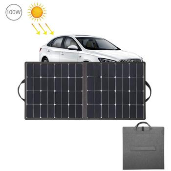 HAWEEL 100W Foldable Solar Charger Outdoor Travel Rechargeable Folding Bag& 5V/2.4A USB Port 2 Solar Panels for Phone Car Laptop