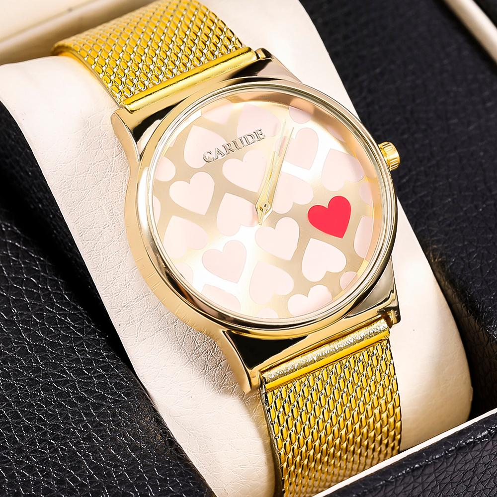 SHAARMS New Fashion Women Watches Street Snap Luxury Female Golden Wrist Jewelry Heart Shaped Clock Ladies Wristwatch