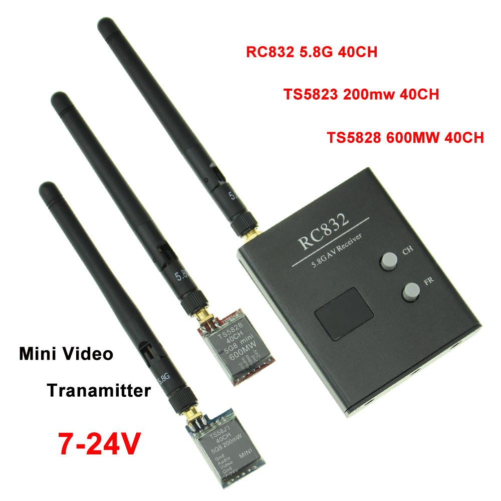 TS5823 TS5828 + RC832 40CH Video Sender Micro Wireless Video Transmitter Module 5.8GHz VTX For 180-350 Class Quadcopter Drone