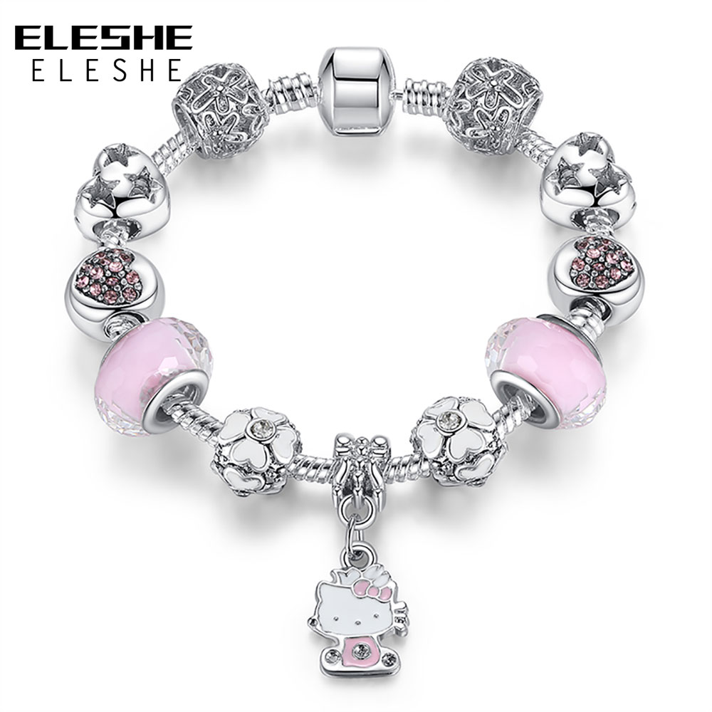 ELESHE Cute Children Charms Armbånd Bangle for Kids Girl Murano - Mote smykker - Bilde 6