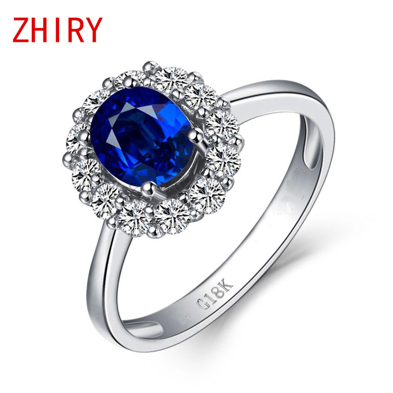 0.5ct Blue Sapphire Ring 100% Natural Sapphire Gems real 18k White gold Rings Fine Jewelry luxury термокружка gems 470ml black sapphire 1907 34