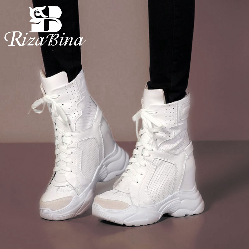 RizaBina Fashion WomenGenuine Leather Ankle Boots Wedges Lace Up Mesh Breathable Warm Shoes Women Inside Heel