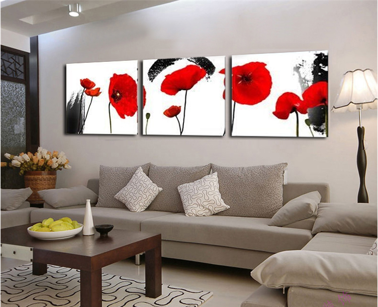 Buy red poppies flower 3 piece wall art for Buy cheap canvas art