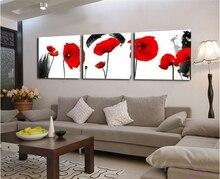 Красные маки цветок Печать на холсте комплект из 3 предметов стены Книги по искусству Печать на холсте Современные Картины стене картинки для гостиной кабинет