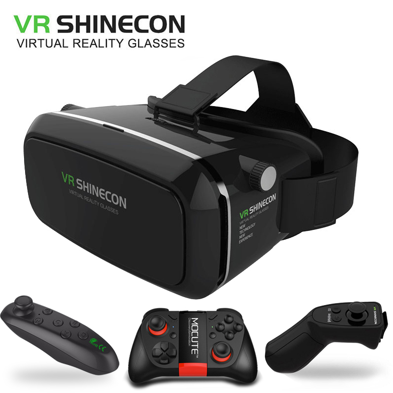 Original VR Shinecon Virtual Reality 3D VR <font><b>Glasses</b></font> VRbox For Iphone Android Smartphone With Wireless <font><b>Bluetooth</b></font> Game controller