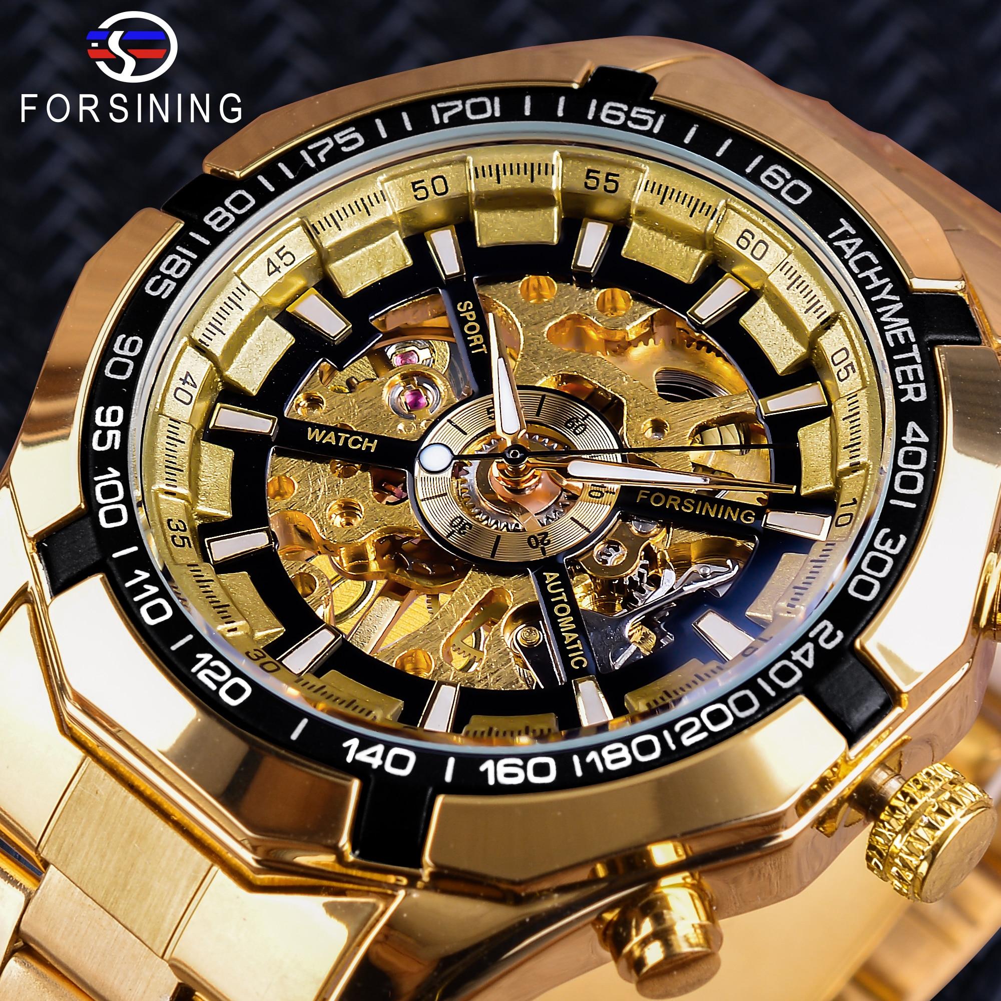 Forsining 2018 Sport Wristwatch Bracelet for Men Golden Clock Top Brand Luxury Creative Skeleton Men's Mechanical Watches uhren