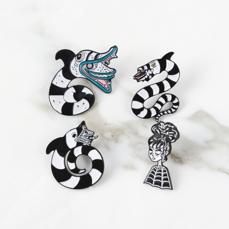 Beetlejuice Sandworm Lydia Deets Brooch Enamel Pins Badge Gothic Halloween Beetlejuice Badge Corsage Brooches Movie Jewelry Brooches Aliexpress