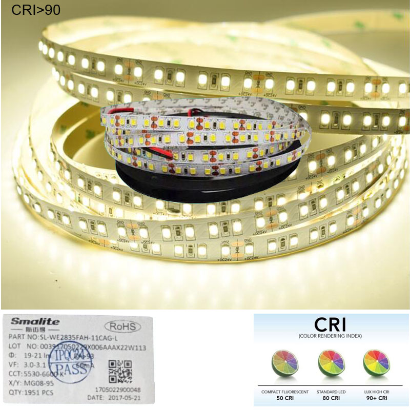 Image 4 - 2018 New High CRI+90 2835 12V 24V 2835 LED Light Strips  For Home 8mm Width  120LED/m 0.2W/LED 45W/5m/lot No Waterproof-in LED Strips from Lights & Lighting