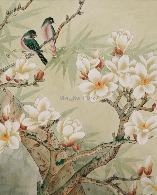 Customized Hand Painted Silk Wallpaper HAND PAINTED Painting Magnolia Flowers With Birds Wallcovering Many Pictures