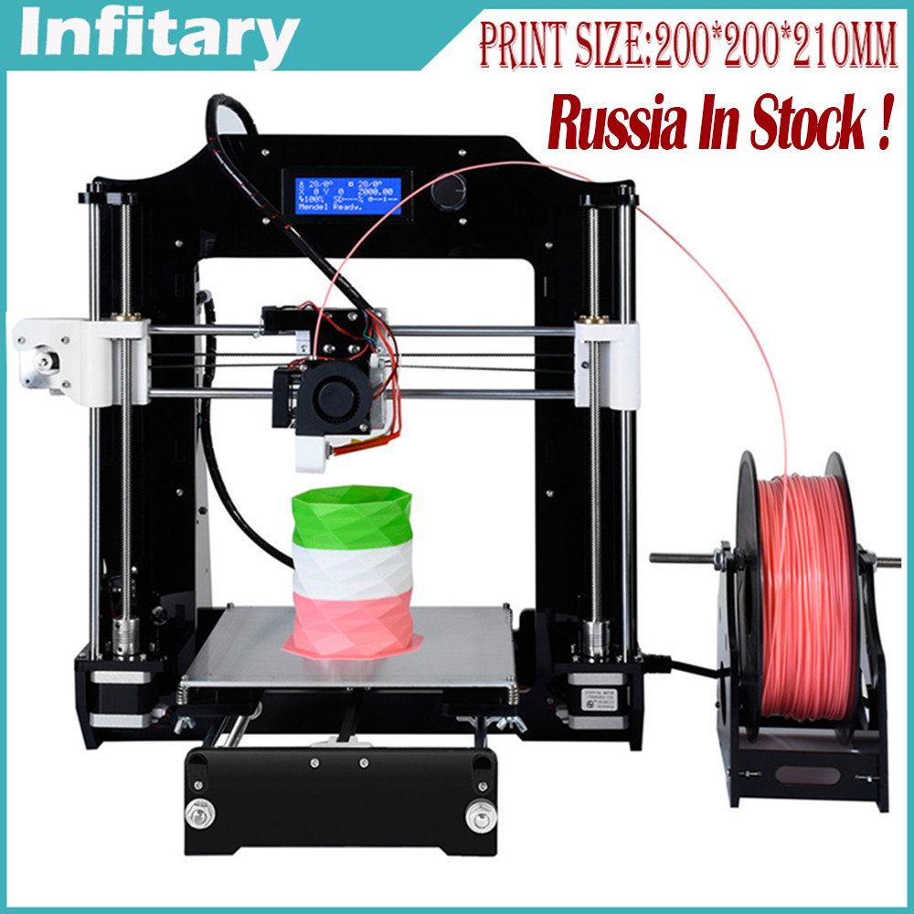 Popular Personal 3d printer machine Infitary 3d printer kit diy Reprap Prusa Industrial i3 With Free Filaments & Russia in Stock