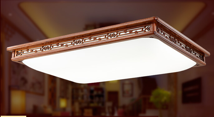 Remote Control Asian Chinese Style Ceiling Light Fixture LED Large Modern Wood Lights Lamp For Living Room Oriental