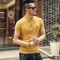 Marca de Ropa de Polo Camisa Solid Casual Polo Homme Para Hombre T-shirt Tops Al Por Mayor de Alta Calidad 100% Algodón Slim Fit