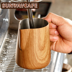 Coffee Milk Jug 300/600ml Graining Stainless Steel Frothing Pitcher Pull Flower Cup Espresso Frothers Mug Coffee Barista Tools