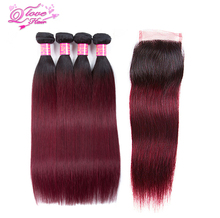 Queen Love Hair Ombre Straight Human Hair Bundles With Closure #1B/99J Brazilian Non Remy Hair Weave 4 Bundles With Lace Closure
