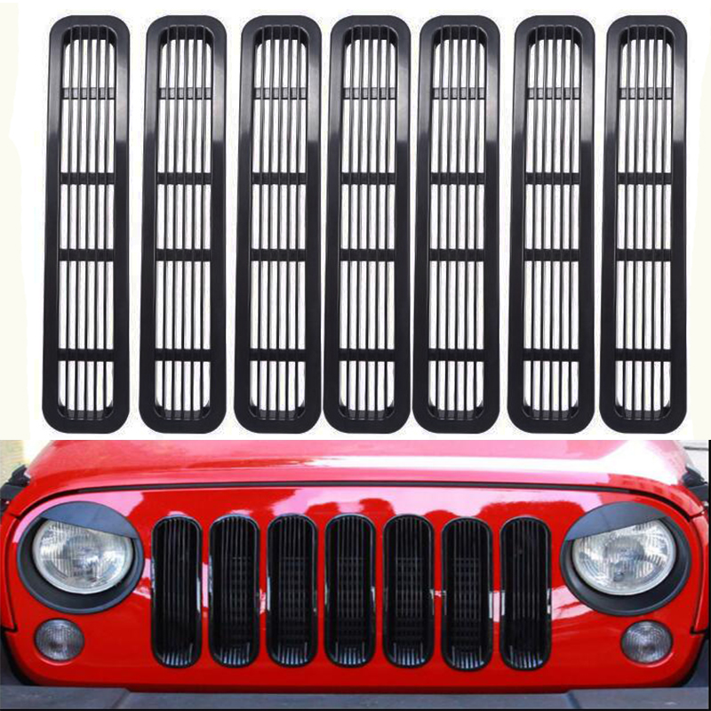 Front Insert Grille Cover With Net Trim Car Exterior Decoration For Jeep Wrangler TJ 1997-2006 ABS Stickers Car StylingFront Insert Grille Cover With Net Trim Car Exterior Decoration For Jeep Wrangler TJ 1997-2006 ABS Stickers Car Styling