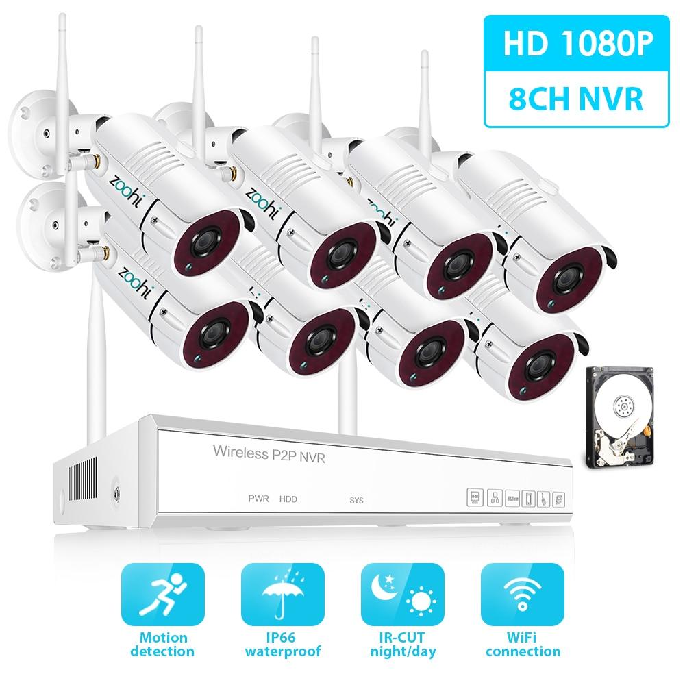8CH 2.0MP Zoohi 1080 P HD Sistema de Câmera de Segurança Sem Fio Wi-fi Câmera de Vigilância Do Sistema de Vídeo Kits IP66 Visão Nocturna Ao Ar Livre