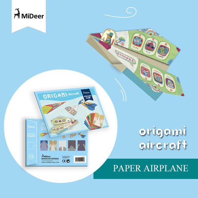 Mideer Origami Aircraft Airplanes For Kids Easy Colorful Paper Educational DIY Gift Folding Flying Toys