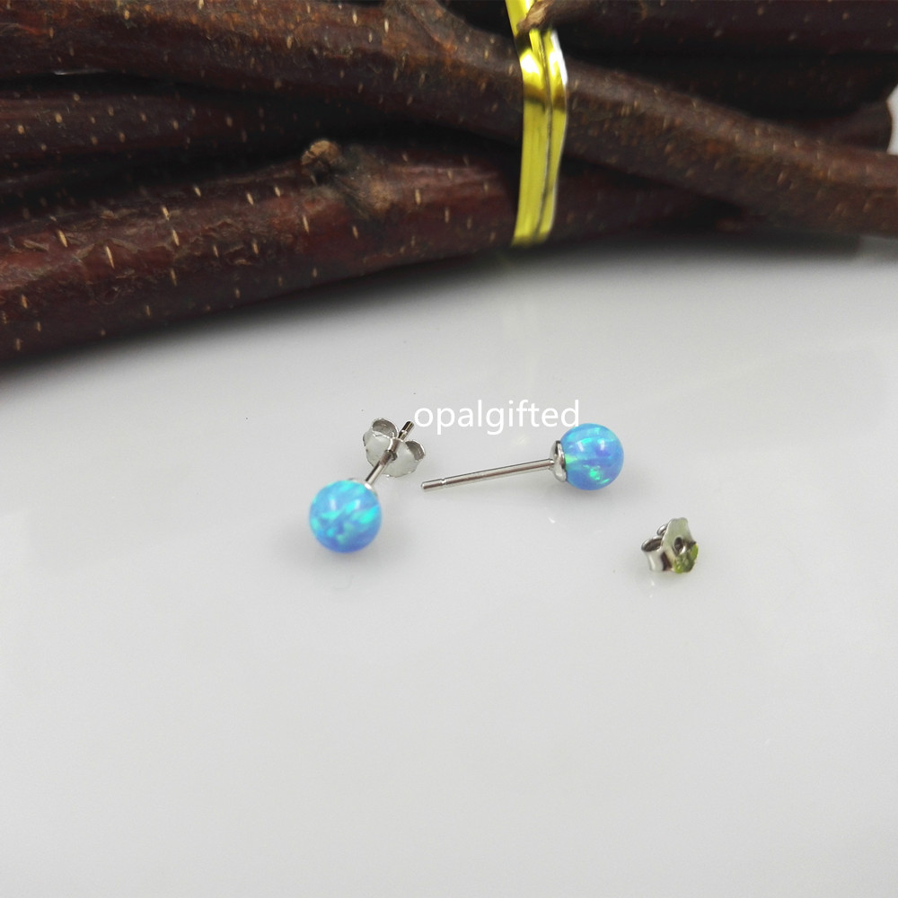 1 pair Wholesale Lab Crested In Stock Round Opal Bead Earrings/Round Ball Opal Earring 5mm Light Blue Opal Earring for sale 2017