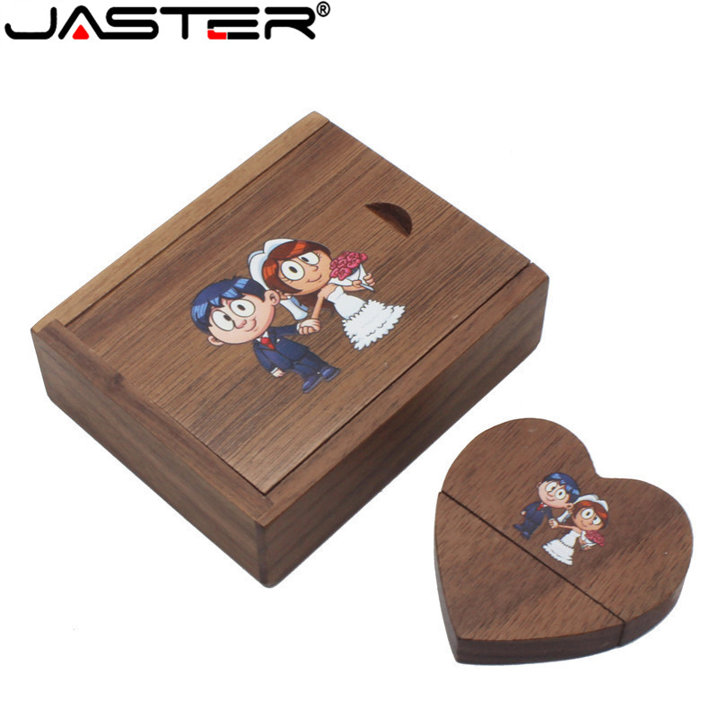 JASTER Wooden Heart Usb + Gift Box Usb Flash Drives U Disk Pendrive 4GB 8GB 16GB 32GB Wedding Gift (over 10 PCS Free LOGO)
