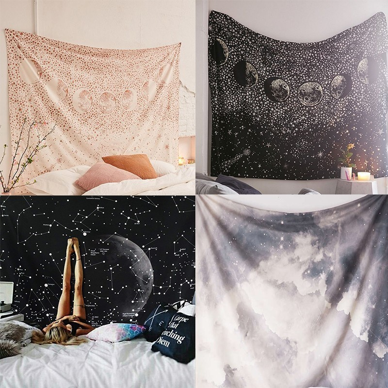 The Moon Constellation Wall Cloth Tapestries Galaxy Night Sky Psychedelic Tapestry Printed Wall Hanging Bedroom Home Decorative