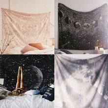 The Moon Constellation Wall Cloth Tapestries Galaxy Night Sky Psychedelic Tapestry Printed Wall Hanging Bedroom Home Decorative night sky printed wall hanging tapestry