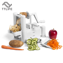 TTLIFE 3 in 1 Vegetable Fruit Slicers Cutter Adjustable Stainless Steel Blades Multi-function ABS Peeler Grater Slicer
