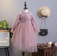 Nieuwe Baby Meisjes Boutique Lente Mode Mesh Lange Mouwen Jurken, prinses Kids Fairy Bloem Jurk 5 stks/partij, groothandel
