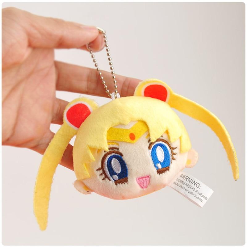 Sailor Moon Plush Toys Cute Anime Cartoon Super Moon Mercury Peluche Dolls Keychain Key Bag Pendant 10pcslot 8-9cm (6)
