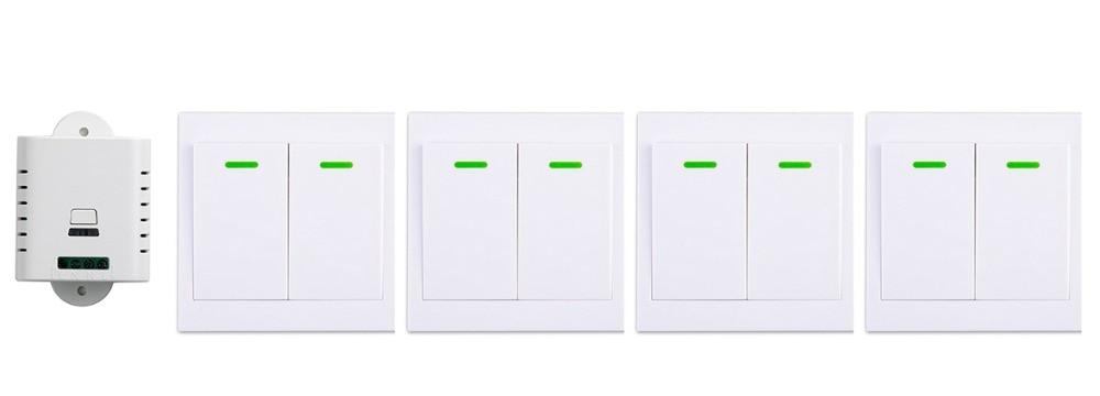 ФОТО 85V 110V 220V 250V 1CH Wireless Remote Control Switch Receiver+4*Wall Panel Remote Transmitter Sticky Remote Smart Home Switch