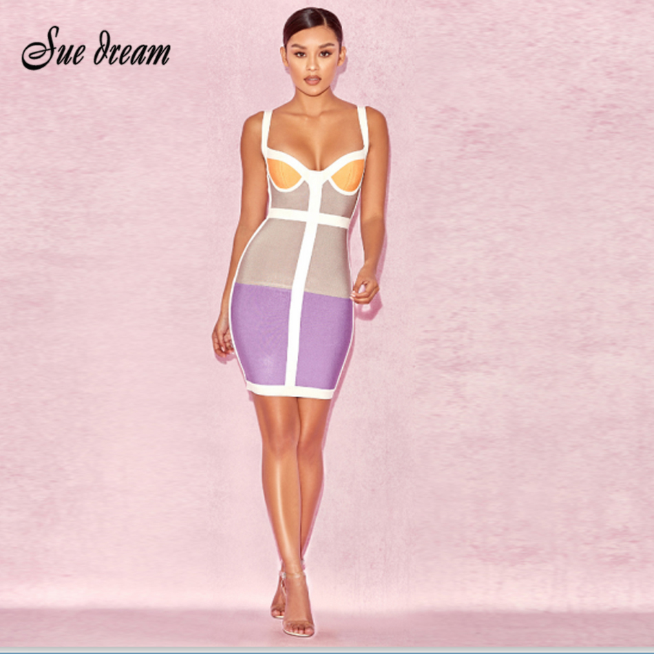 2017 Summer new women sleeveless strapless bandage dress sexy bodycon geometric backless celebrity party violet dresses vestidos