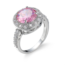 New Arrival European Big Round Pink Zircon Pave Crystal Women Rings Wedding Ring Fashion Party silver colors Jewelry Size 6-10