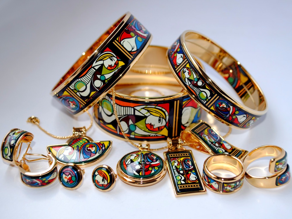 005 Cloisonne enamel jewelry European and American style 4pcs sets цена