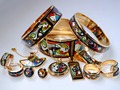 005 Cloisonne enamel jewelry European and American style 4pcs sets