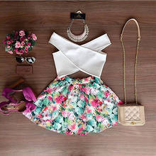 2pcs Set Sexy Women Summer Floral Sleeveless Casual Evening White V Neck Top Short Shirt & Flower Colorful Mini Skirt Wholesale(China)
