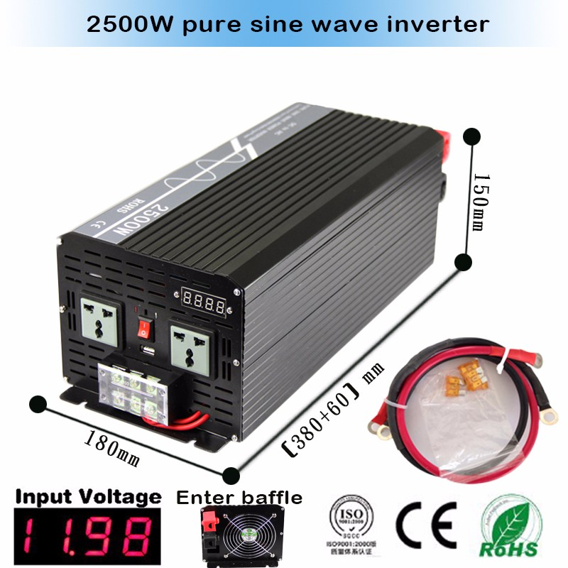Reliable 2500W (Peak 5000w) Pure Sine Wave Inverter Off Grid dc to ac Power Converter Solar System Power Inverter home inverter