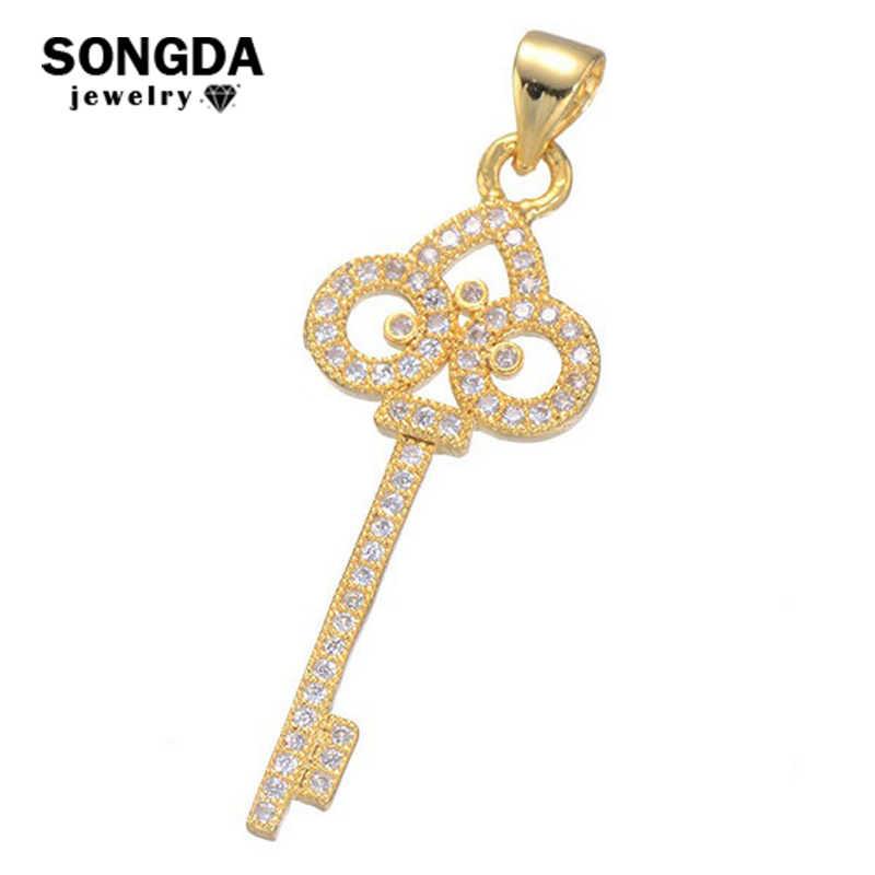 SONGDA nuevo estilo 3 colores CZ colgantes diseño especial llavero colgante moda mujer DIY collares joyería regalo PX0001