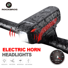 ROCKBROS Cycling 2 In 1 Bicycle Horn Light 120dB Electric Bell Headlight Waterproof 250 LM MTB Bike Front Lamp Bike Accessories