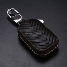 цена на Car key wallet case Genuine Leather for Honda Accord Pilot Jazz Civic HRV CRV Fit Odyssey Jade CRZ Insight None free shipping