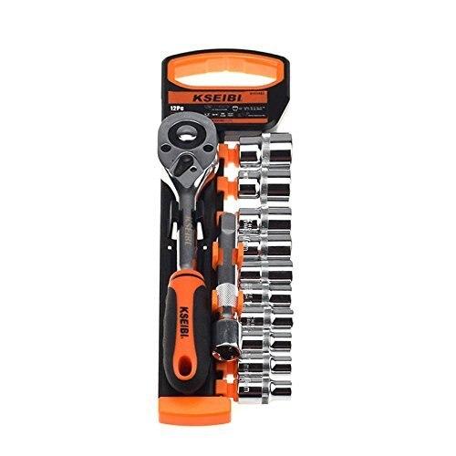 KSEIBI 101803 Stick Buchse Set 10 24mm Metric Cr V 1/2 Zoll 10 Werkzeug organisatoren Quick Release ratsche Griff und Erweiterung Bar