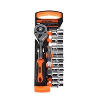 KSEIBI 103482 Drive Socket Set 10 24 mm Metric Cr V 1/2 Inch 10 Tool organizers Quick Release Ratchet Handle and Extension Bar