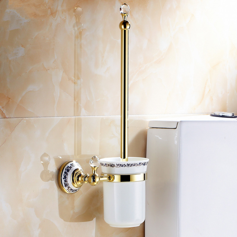 Toilet Brush Holders Wall Mounted Bathroom Accessories Brass & Crystal Bathroom Decoration Accessory Bathroom Products high quality crystal decoration gold brass toilet brush holders bathroom shelf accessories