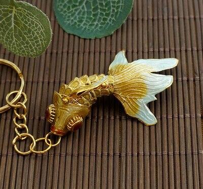 Маленький креативный эмалированный брелок с золотой рыбкой, брелок с рыбкой, китайский этнический перегородчатый ювелирный аксессуар, брелок, Подарочная подвеска-Шарм - Цвет: Цвет: желтый